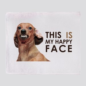 Happy Face Dachshund Throw Blanket