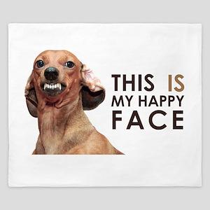 Happy Face Dachshund King Duvet