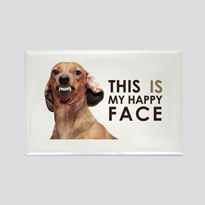 Happy Face Dachshund Rectangle Magnet