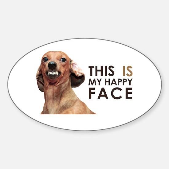 Happy Face Dachshund Sticker (Oval)