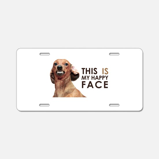 Happy Face Dachshund Aluminum License Plate