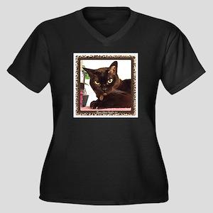 Cattitude Women's Plus Size V-Neck Dark T-Shirt
