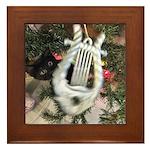 Christmas Tree Kitten Framed Tile