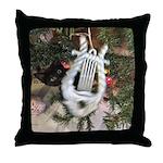 Christmas Tree Kitten Throw Pillow