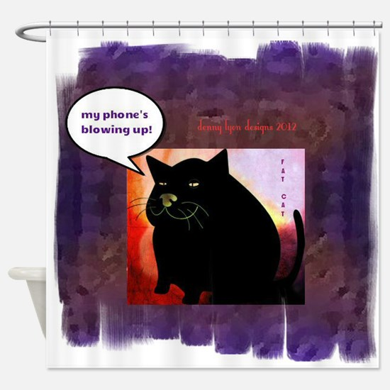 Funny Fat Cat Phone Shower Curtain