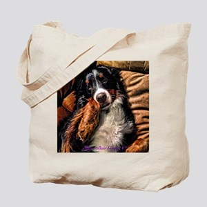 Berner Posing on Couch Tote Bag