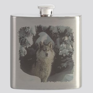 gray wolf Flask