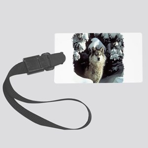 gray wolf Large Luggage Tag