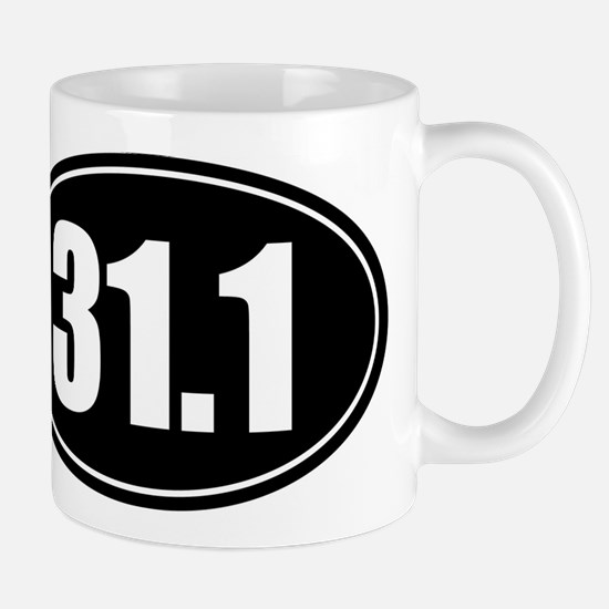 31.1 50k oval black sticker decal Mug