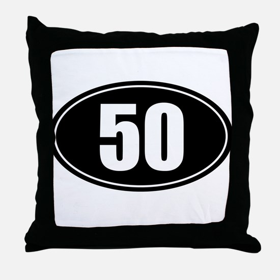 50 mile black oval sticker decal Throw Pillow
