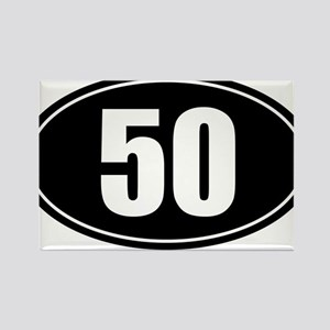 50 mile black oval sticker decal Rectangle Magnet