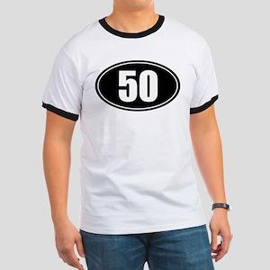 50 mile black oval sticker decal Ringer T