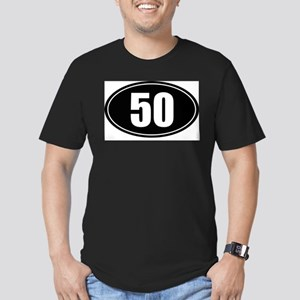 50 mile black oval sticker decal Men's Fitted T-Sh