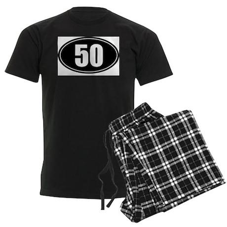 50 mile black oval sticker decal Men's Dark Pajama