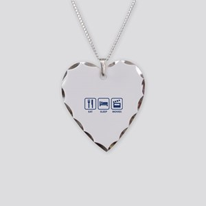 Eat Sleep Movies Necklace Heart Charm