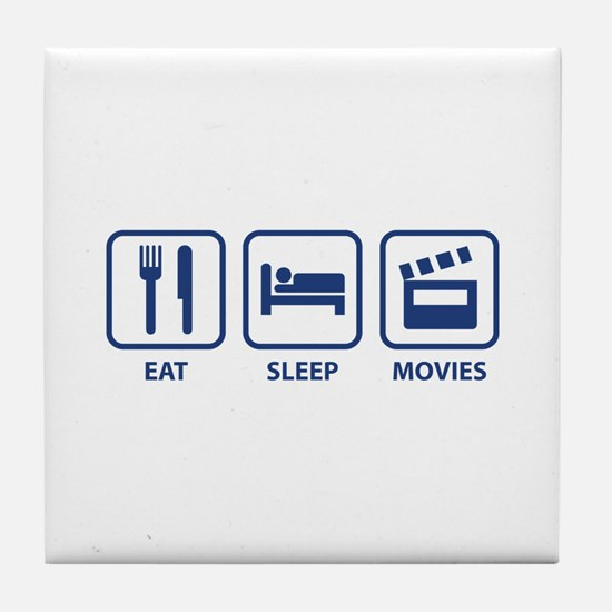 Eat Sleep Movies Tile Coaster
