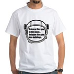 Science flies you to the moon White T-Shirt