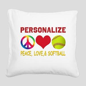 Girls Softball Square Canvas Pillow