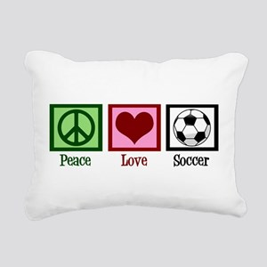 Peace Love Soccer Rectangular Canvas Pillow