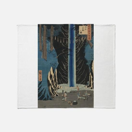 Fudo Falls Oji - Hiroshige Ando - 1857 Throw Blank
