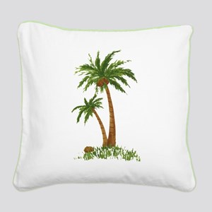Twin Palm Tree Square Canvas Pillow