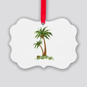 Twin Palm Tree Picture Ornament