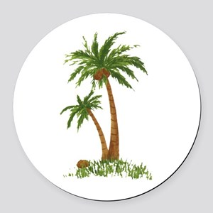 Twin Palm Tree Round Car Magnet
