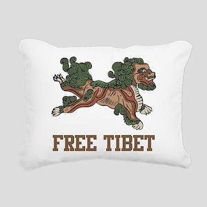 Snow Lion Free Tibet Rectangular Canvas Pillow