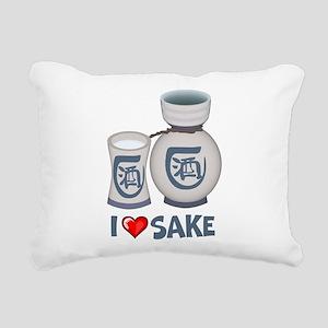 I Love Sake Rectangular Canvas Pillow
