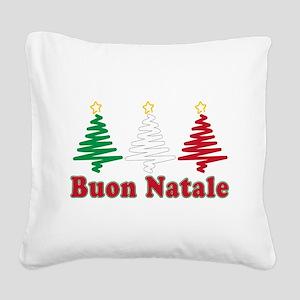 Buon Natale Flag Square Canvas Pillow