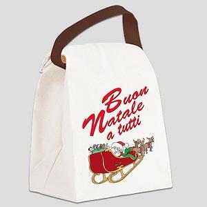 buon natale teddy bear(blk)1 Canvas Lunch Bag