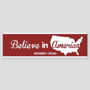 Believe In America Bumper Sticker Red Sticker (Bum