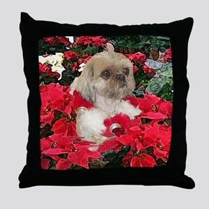 Shih Tzu Christmas Poinsettia Sandy Throw Pillow