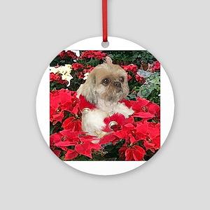 Shih Tzu Christmas Poinsettia Sandy Ornament (Roun
