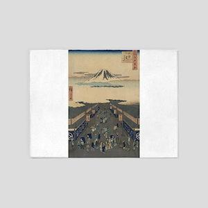 Surugacho - Hiroshige Ando - 1856 5'x7'Area Rug