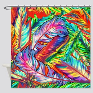 Bright Feathers Shower Curtain