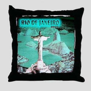 Rio de Janeiro brazil art illustration Throw Pillo
