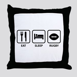 Eat Sleep Rugby Throw Pillow
