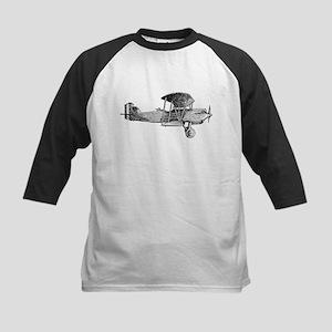 Retro Black and White Plane Kids Baseball Jersey