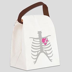 Broken Heart in Ribcage Canvas Lunch Bag
