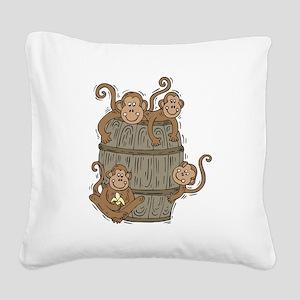 barrel of monkeys Square Canvas Pillow