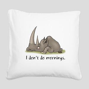 mornings rhino Square Canvas Pillow