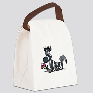 zebra with flower Canvas Lunch Bag