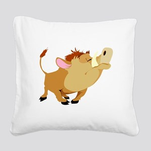 funny proud wild pig Square Canvas Pillow