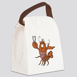 toasting wine lobster Canvas Lunch Bag