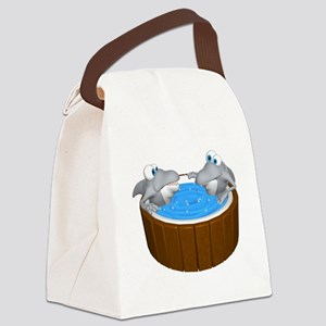 sharks in a hot tub Canvas Lunch Bag
