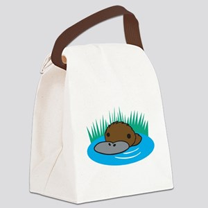 silly platypus in the water Canvas Lunch Bag