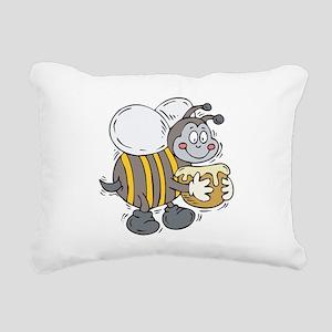 happy honey bee Rectangular Canvas Pillow