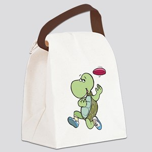 turtle playing frisbee Canvas Lunch Bag