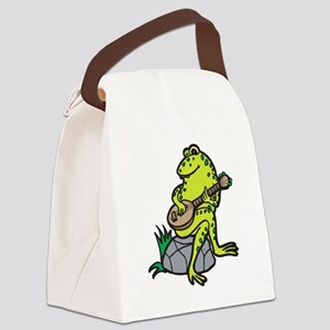 frog playing guitar Canvas Lunch Bag